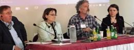 Panel zur Jugendarbeit (von links nach rechts) Rolf Stöckel und Dr.Vassilia Triarchi-Herrmann, Panos Poulos und Natali Petala-Weber.